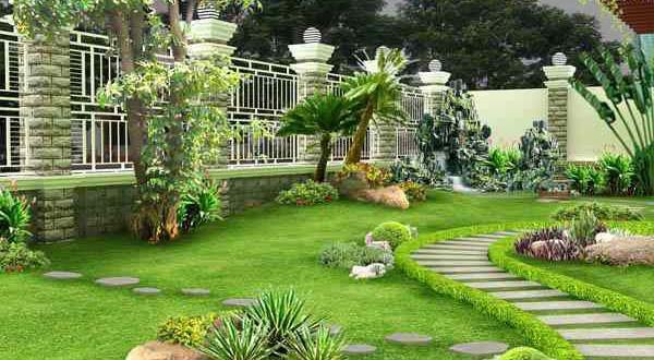 Nghệ thuật bố trí cây xanh trong thiết kế sân vườn